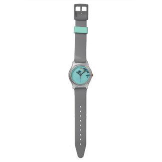 Reloj del pájaro de la turquesa de Sumi-e