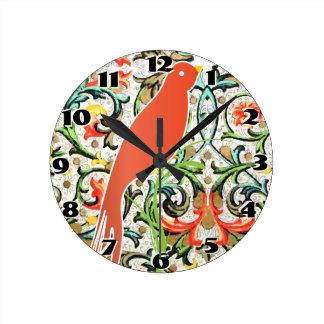 Reloj del pájaro del amor del estampado de flores