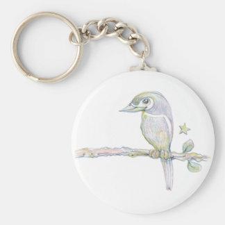 Reloj del pájaro llavero redondo tipo pin
