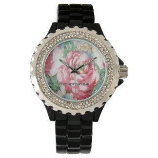 Reloj del papel pintado floral de Barkcloth del