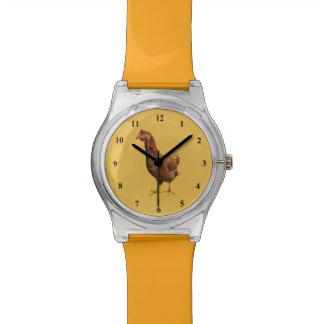 Reloj del pollo de la gallina del rojo de Rhode