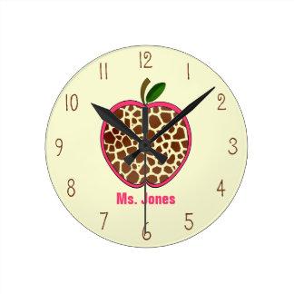 Reloj del profesor de Apple del estampado de giraf
