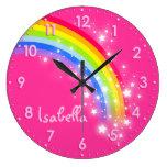 Reloj del rosa del nombre del arco iris de los niñ