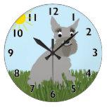 Reloj del Schnauzer estándar del dibujo animado