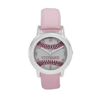 Reloj del softball del chica personalizado