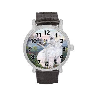 Reloj del soñador del perrito de Bichon Frise