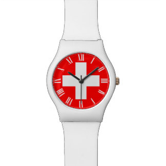 Reloj del suizo - bandera suiza y números romanos