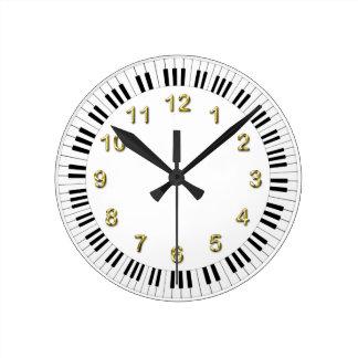 Reloj del teclado de piano con los marcadores de