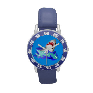 Reloj del tiburón azul de los niños