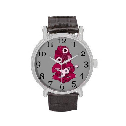 Reloj del Ukulele de Hei Tiki, rosado