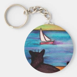 Reloj del velero del gato negro llavero redondo tipo pin