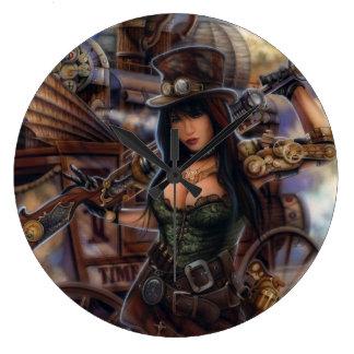 ¡Reloj del viajero del tiempo de Steampunk! Reloj Redondo Grande