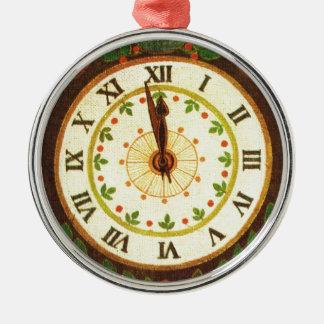 Reloj del vintage, cuenta descendiente al navidad adorno redondo plateado