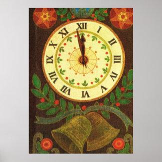 Reloj del vintage, cuenta descendiente al navidad póster
