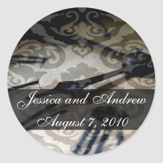 reloj del vintage, Jessica y AndrewAugust 7, 2010 Pegatina Redonda