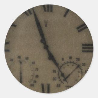 Reloj del vintage pegatina redonda