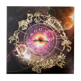 Reloj del zodiaco azulejo cuadrado pequeño