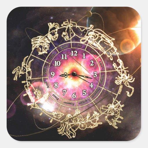 Reloj del zodiaco pegatina cuadrada