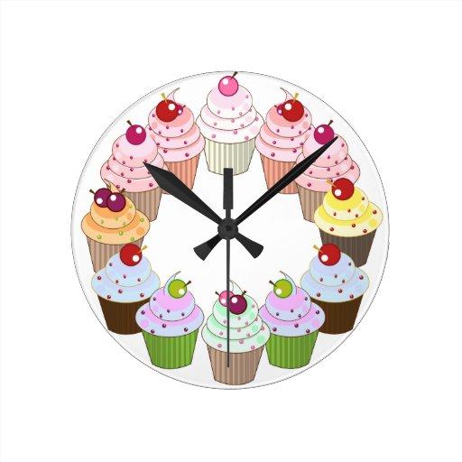 Reloj delicioso de la cocina de las magdalenas