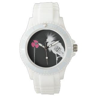 Reloj deportivo blanco del pájaro cabelludo feroz