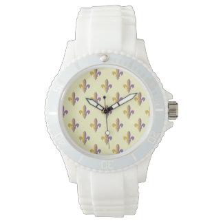 Reloj deportivo de la flor de lis de la púrpura y