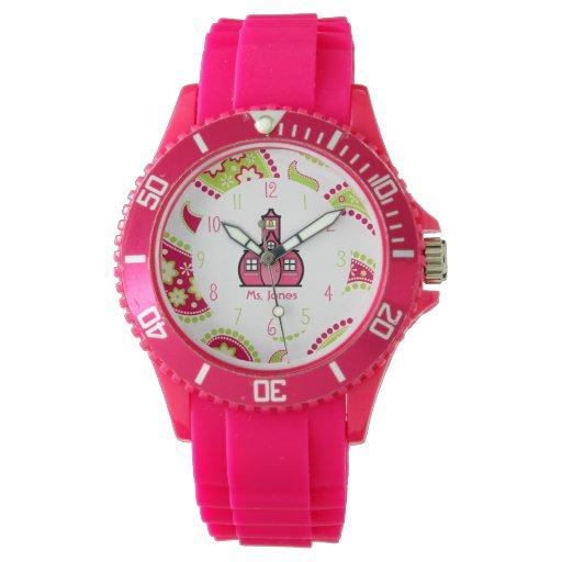 Reloj deportivo de Paisley y del profesor rosado