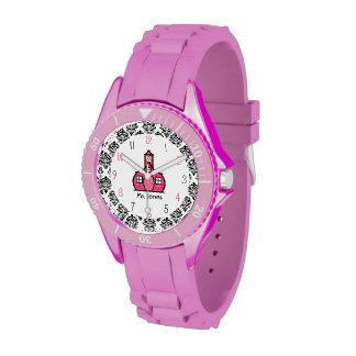 Reloj deportivo del damasco y del profesor rosado