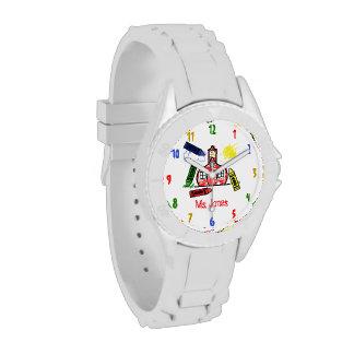 Reloj deportivo del profesor de la escuela y de lo