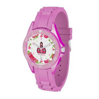 Reloj deportivo del profesor floral y rosado de la