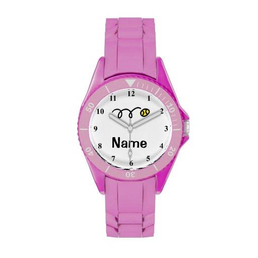 Reloj deportivo del tenis con nombre personalizabl