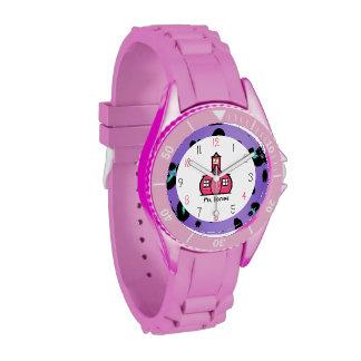 Reloj deportivo púrpura del leopardo y del profeso