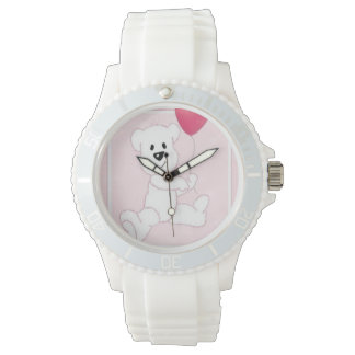 Reloj deportivo rosado de Cub del oso polar