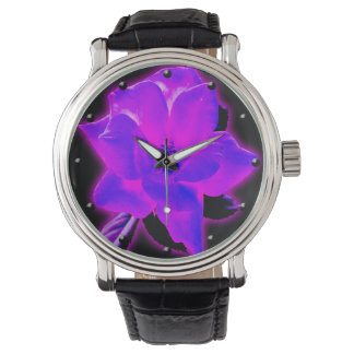 Reloj digital subió púrpura místico del arte que