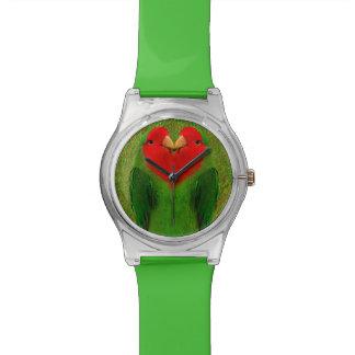 Reloj dirigido rojo de los Lovebirds