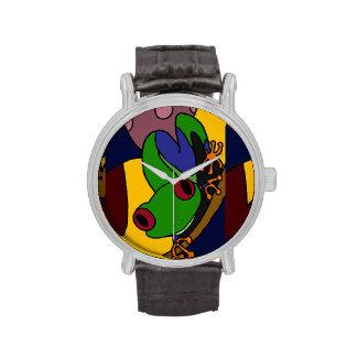 Reloj divertido del arte abstracto de la rana arbó
