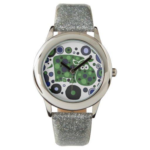Reloj divertido del arte abstracto del hipopótamo