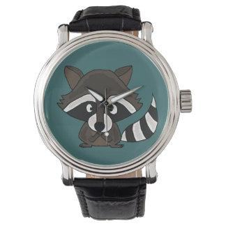Reloj divertido del arte del mapache