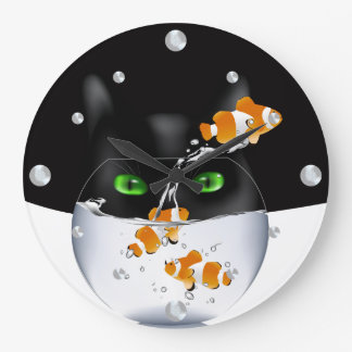 Reloj divertido del gato y de pared de Clownfish
