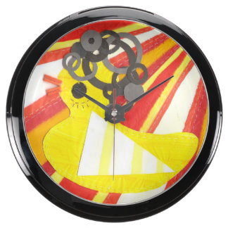 Reloj Ducky de la aguamarina del disco Reloj Pecera