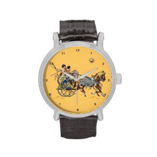 reloj egipcio antiguo de los carros