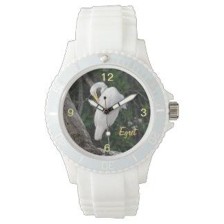 Reloj elegante agraciado del pájaro del Egret