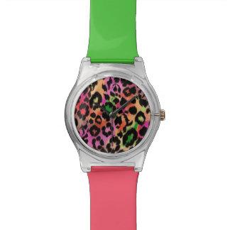 Reloj elegante de la impresión del guepardo del co
