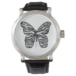 Reloj elegante de la mariposa del estampado de