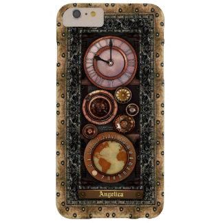 Reloj elegante de Steampunk del vintage Funda De iPhone 6 Plus Barely There