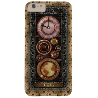 Reloj elegante de Steampunk del vintage Funda Barely There iPhone 6 Plus