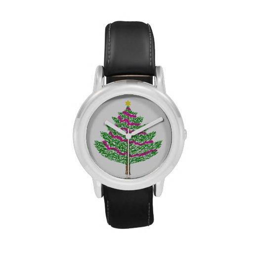 Reloj elegante del árbol de navidad de los niños