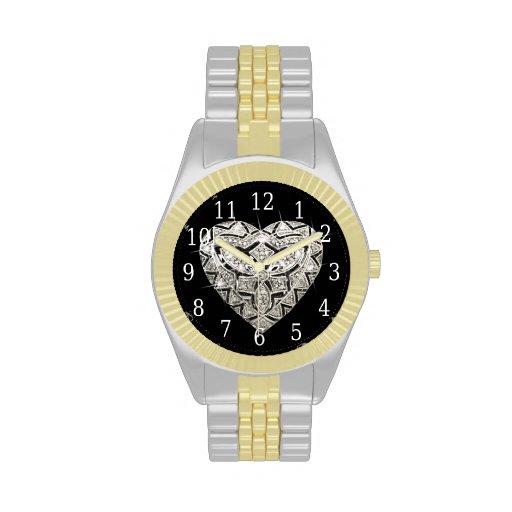 Reloj elegante del corazón del diseñador