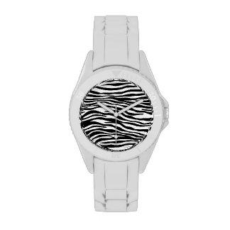 Reloj elegante del estampado de zebra
