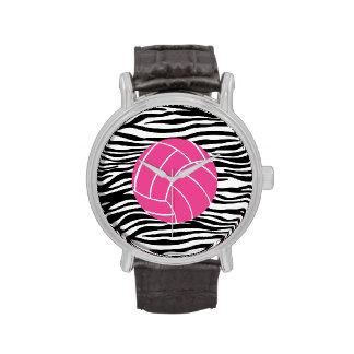 Reloj elegante del voleibol del estampado de zebra