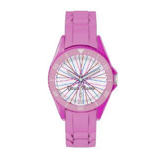 Reloj en colores pastel personalizado del nombre